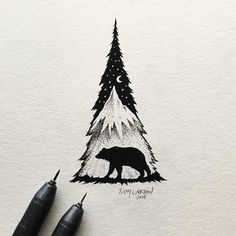 Little Hybrid Illustrations by Sam Larson. American artist Sam Larson creates tiny black and white illustrations with felt-tip pen, mixing wild landscapes and animals, shapes and food into detailed hybrid compositions. Tatoo Art, Et Tattoo, Tattoos, Tattoo Tree, Tattoo Wolf, Tattoo Pics, Arte Sketchbook, Pen Art, Grafik Design