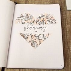 February Bullet Journal Planning - Plan with me - BuJo - Layout - Bullet Journal Inspo, Bullet Journal Title Page, February Bullet Journal, Bullet Journal Notebook, Bullet Journal Aesthetic, Bullet Journal Ideas Pages, Bullet Journals, Art Journals, Journal Inspiration