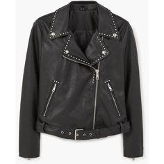MANGO Studded Biker Jacket ($120) ❤ liked on Polyvore featuring outerwear, jackets, mango jackets, studded moto jacket, biker style jacket, embellished jacket and moto biker jacket