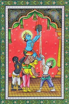 Makhan Chor Krishna Stealing Butter with Friends (Orissa Paata Painting on Canvas - Unframed))
