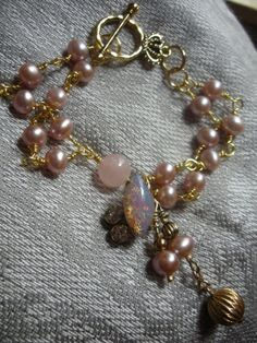 Vintage Glass Opal Pink Freshwater Pearls by AtticAntiquesVintage, $25.00