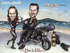 Caricatura de namorados para quadro #presente #decor #beach #diving