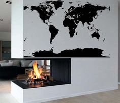 Outlined world map decal with continents vinyl wall sticker decals big global atlas world map vinyl wall art decal sticker gumiabroncs Gallery