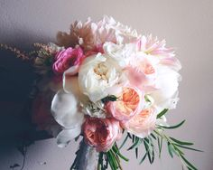 Peony dahlia and garden rose bouquet. I love the peach and pink in this soft romantic bouquet! | Floral Design by Erin