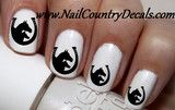 50 pc Black DBL Horse N Horse Shoes Nail Decals Nail Art Nail Stickers Best Price NC1474