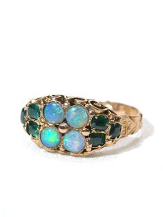 Victorian opal and emerald ring, circa 1860 - 1870. Love the colors!