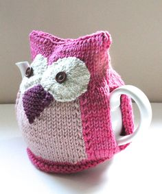 Hand knitted Owl Tea Cosy - Organic Wool and Cotton mix - SOPHIA  - Medium (4-6 Cup Teapot)