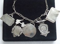 RARE T Foree Vintage HEAVY Sterling Silver Luggage Tag Charm Necklace LOADED #TForee #ChainCharmNecklace