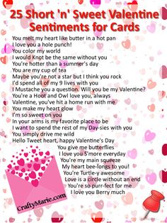 Valentine 25 sweet heart quotes and sentiments for cards and crafts