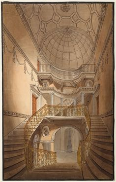 Perspective of the staircase at 44 Berkeley Square Robert Dennis Chantrell 1813 Pen and ink, watercolour © The Trustees of Sir John Soane's ...