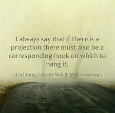 I always say that if there is a projection there must also be a corresponding hook on which to hang it. ~Carl Jung, Letters Vol. II, Pages 440-442