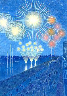 花火大会 / O-bon Fireworks Art And Illustration, Illustrations Posters, Japanese Prints, Japanese Art, 6 Photos, Nouvel An, Blue Art, Asian Art, Fireworks
