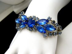 """Vintage Rhinestone Bracelet Shades of Blue Marquis Chatons 1"""" Wide #Unbranded #Statement"""