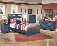 Beau 6 Piece Full Panel Bedroom In Denim Blue   Sam Levitz Furniture
