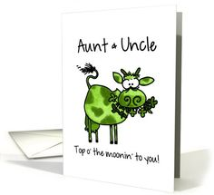 St. Patrick's Day Cow - for my Aunt & Uncle - all the relationships, funny card with some St Paddy's Day word play