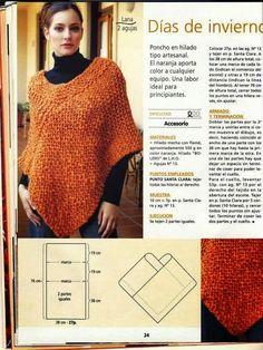 4 patrones de ponchos tejidos con dos agujas | Crochet y Dos agujas: