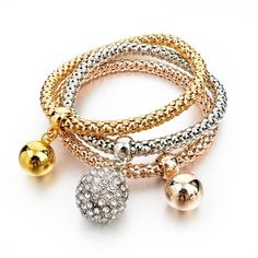 Vintage Pendant Crystal Bracelet Fashion Women Bracelets Bangles 3 Pcs Multilayer Charm Gold Bracelet Silver Chain