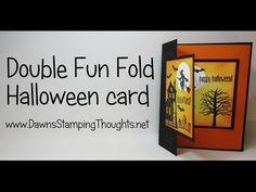 Double Fun Fold Halloween card using Spooky Fun stamp set from Stampin'Up! Double Fun Fold Halloween card using Spooky Fun stamp set from Stampin'Up! Card Making Tips, Card Making Tutorials, Card Making Techniques, Making Ideas, Fancy Fold Cards, Folded Cards, Fall Cards, Holiday Cards, Christmas Cards