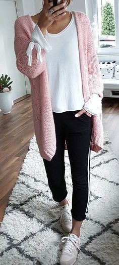 #summer #outfits Casual #ootd  // Pink Cardigan + White Top + Black Pants