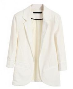 White Tailored Blazers with Rolled Cuffs