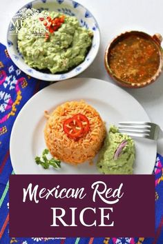 "Red Rice Recipe, this is one of the most popular side dishes in the Mexican Cuisine, either it is red rice, white, green or black (with beans).  Consequently, mastering the art of cooking rice is one of those ""rites of passage"" for any Mexican girl looking to get ready for marriage. Or, at least, that's how it used to be. Red Rice Recipe Mexican, Mexican Rice Dishes, Real Mexican Food, Authentic Mexican Recipes, Best Mexican Recipes, Ethnic Recipes, Rice Recipes, Chicken Recipes, Vegan Recipes"