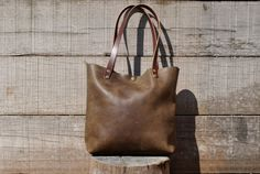 Leather Tote Bag Distressed Leather Tote by NellHarperLeather