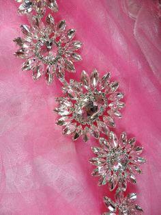 N75 Rhinestone Applique Crystal w/ Silver Setting Embellishment Metal Back 12  Size: 12 x 2.5  Rhinestone Applique Crystal w/ Silver Setting