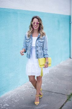 Honey We're Home: Little White Easter Dress Yellow Clutch Yellow heels Jean Jacket
