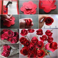 Crea bellos ramos con rosas de papel Paper Flower Tutorial, Paper Flowers Diy, Paper Roses, Handmade Flowers, Flower Crafts, Fabric Flowers, Craft Flowers, Rose Tutorial, Rose Crafts