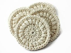 Cotton Face Rounds Set of Six in a Cream Color  by TheGreenDaisy