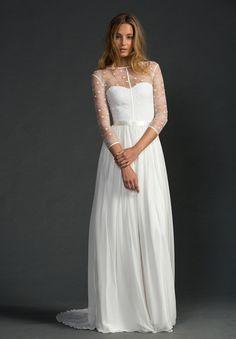 Corsage Wedding Bride Lace Gown Boho