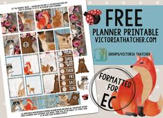 Free Printable Forest Friends Planner Stickers from Victoria Thatcher