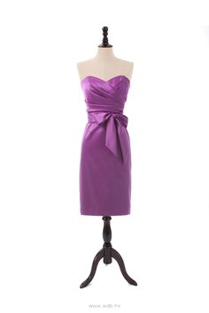 Sweetheart Satin Dress with Draped Bodice and Sash $110.98
