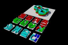 The blocks for different sections of the house divided into different printing areas, shown on the 3D printing software.