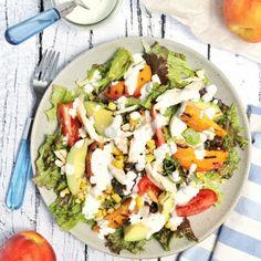 Grilled peach, corn and avocado chicken salad with Greek yogurt lime dressing