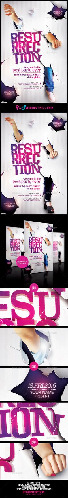 Resurrection Flyer Template /6. ***This flyer is perfect for the promotion of Events, Club Parties, Concerts, Musicals, Shows, Festivals, Theaters, Promotions or Whatever You Want! ***.