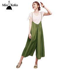 MissKoKo Green Suspender Jumpsuit Women Vintage Casual Basic Playsuit Female Loose Summer Tie Fashion Ladies Jumpsuit