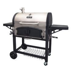Charcoal Grill Patio Stainless Steel Bbq Cooking Double Patio Shelves SmokeStack #homeBBQ