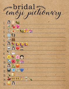 These rustic Bridal Shower Wedding Emoji Pictionary game cards are a fun bridal shower game to add to your next bridal shower or wedding shower. Play this game with your family and friends at your bri Fun Bridal Shower Games, Bridal Shower Planning, Disney Bridal Showers, Printable Bridal Shower Games, Unique Bridal Shower, Bridal Shower Decorations, Baby Shower Games, Couples Wedding Shower Games, Couple Shower Games