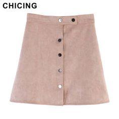 a1d2437602 CHICING 2018 nueva llegada mujeres gamuza Multi Color de línea Mini Falda  Mujer Otoño Invierno básicos