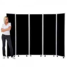 Mobile Folding Room Divider, 5 panel, 1800mm high, Nyloop Fabric