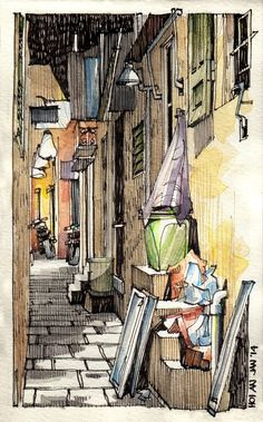 CS Copic Marker used to colour, darker shades to create tone, and lines used to create shadows. 'Jorge Royan - Urban Sketching - Alley at night'