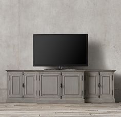 """French Panel Media Console, 80"""" $2,100. other finishes, also 100"""" version"""