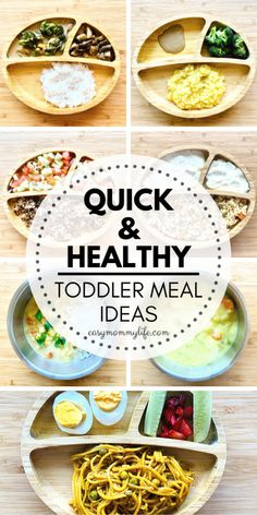 Quick and Healthy Toddler Meals. Includes toddler meal ideas for 1 year old, ideas for 2 year olds and toddler meal ideas for picky eaters. Many low prep, easy and clean eating friendly toddler recipes. Special focus on vegan and dairy free meal ideas. Easy Toddler Snacks, Toddler Lunches, Healthy Toddler Meals, Kids Meals, Easy Meals, Toddler Recipes, Toddler Food, Healthy Toddler Breakfast, Toddler Dinners