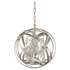 Showcasing a crystal chandelier encircled by an industrial-inspired orb, this bold pendant lends eye-catching style to your dining room or foyer.