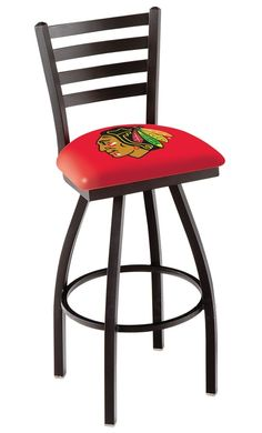 Chicago Blackhawks Bar Stool w/Back - Red