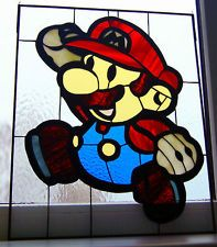 Super Mario Brother Handmade Stained Glass window Paper Mario Nintendo From Game