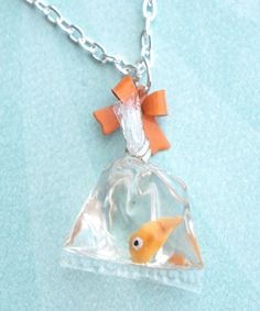 goldfish in a bag necklace by jazlenecollection on Etsy