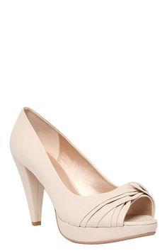 Quincy Faux Leather Twist Stone Peep-Toe Heels (Wide Width) | Shoes