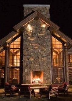 awesome outdoor fireplace!